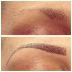 Hair Stroke Eyebrow Tattoo Before and After