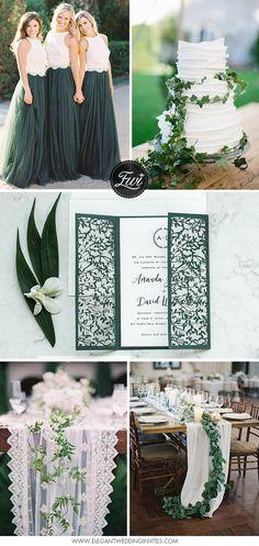 romantische grüne und weiße Hochzeitsfarbe Inspiration