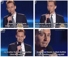 Tom Hiddleston, thanks the cast - Best Villain, MTV Movie Awards