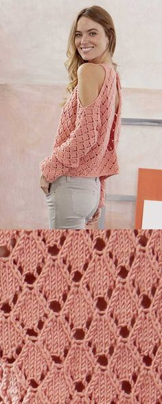 Free Knitting Pattern for a Shoulderless Lace Top. Modern knitting pattern for women.