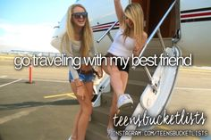 Teen Bucket List ~ Go traveling with my best friend. Best Friend Bucket List, My Best Friend, Best Friends, Best Friend Goals Teen, Summer Goals, Summer Fun, Summer Bucket Lists, Teen Bucket List, Wattpad