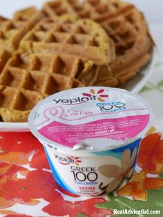 Try this delicious Gluten Free Pumpkin Waffles Recipe with my secret ingredient Yoplait® Greek Yogurt #SnackandSmile #sponsored