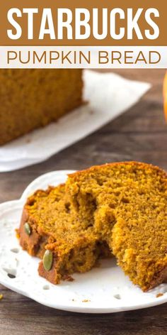 Now YOU can make the Starbucks Pumpkin Bread Recipe at home! This copycat recipe is even BETTER than the original with warm spices & big PUMPKIN flavor! Homemade pumpkin loaf bread is quick & easy to…More Starbucks Pumpkin Bread, Pumpkin Loaf, Moist Pumpkin Bread, Pumpkin Dessert, Pumpkin Yeast Bread Recipe, Pumpkin Pound Cake, Pumpkin Spice Muffins, Pumpkin Carving, Loaf Recipes
