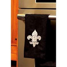 Rhinestone Fleur de Lis kitchen towel