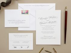 Oh So Beautiful Paper: Carolyn + Dave's Traditional Romantic Wedding Invitations