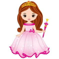Illustration of Vector beautiful princess in pink dress holding magic wand. Vector cute little girl. Princess vector illustration vector art, clipart and stock vectors. Digital Stamps Free, Princess Cartoon, Pink Princess, Baby Clip Art, Princess Drawings, Laura Lee, Cute Little Girls, Image Photography, Cute Drawings