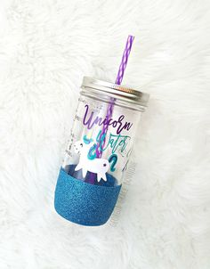 Unicorn Water // Glitter Mason Jar // Summer Cup // Unicorn Tumbler
