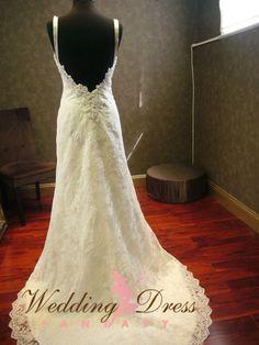 Plunging Back Wedding Dress by WeddingDressFantasy #inbal #dror #reproduction