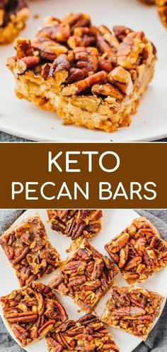 This is an easy recipe for keto pecan bars, with only 5 ingredients. They are ul. - This is an easy recipe for keto pecan bars, with only 5 ingredients. They are ultra nutty, with a generous amount of toasted pecans in browned butter . Pecan Bars, Keto Cookies, Chip Cookies, Keto Fat, Low Carb Keto, Low Carb Bars, Nutrition Sportive, Toasted Pecans, Low Carb Desserts