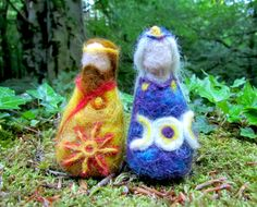 Father Sun and Mother Moon Set Needle Felted by FollowTheForest Moon Setting, Irish Traditions, Needle Felting, Celtic, Father, Sun, Unique Jewelry, Handmade Gifts, Inspiration