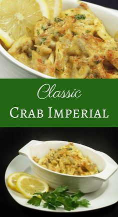 My Classic Crab Imperial Recipe is not only OMG delicious but super easy to make! Wow your guests or that special someone with this timeless classic. by Ask Chef Dennis Maryland Style Crab Imperial Armin Essen Crab Cake Recipes, Fish Recipes, Gourmet Recipes, Cooking Recipes, Healthy Recipes, Lump Crab Meat Recipes, Blue Crab Recipes, Canned Crab Recipes, Crab Cakes Recipe Best