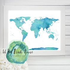 World Map// Watercolor// Printable// Map by LilRedBrickHouse Printable Maps, Printables, Red Bricks, Hand Painted Signs, Home Art, Basement, Original Art, Etsy Shop, Watercolor