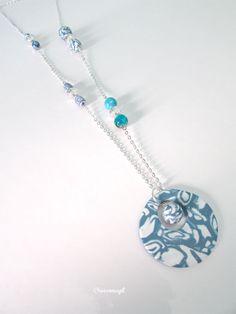 Fimo neckless - Sautoir réalisé en porcelaine froide et perles http://www.alittlemarket.com/collier/fr_collier_sautoir_modele_en_fimo_perles_et_chaine_en_metal_argente_bleu_blanc_argente_-16199579.html