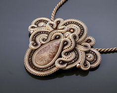 Black gold ecru necklace Soutache. от ANBijou на Etsy