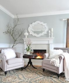 Chairs in front of fireplace? Cozy corner by estelle