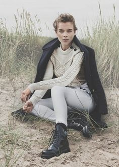 navy coat, cable knit sweater, neutral pants and lace-up boots #style #fashion #fall #editorial