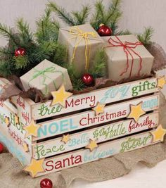 Make a personalized gift crate for several smaller gifts! Great idea to present… Make a personalized gift crate for several smaller gifts! Great idea to present gifts for a whole family! Rustic Christmas, Winter Christmas, Vintage Christmas, Christmas Holidays, Family Holiday, Christmas Eve Box, Christmas Morning, Recycled Christmas Decorations, Holiday Crafts