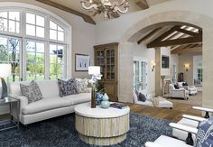 I like the mix of blue & white in rustic, Country French rooms.  Kim & Kanye's New $20 Million Estate with Vineyards in Hidden Hills, California | hookedonhouses.net