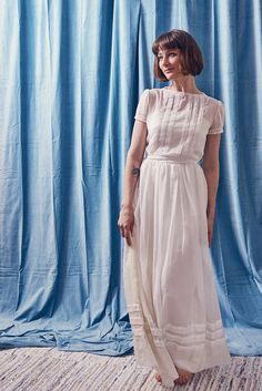 Sheer White Cotton And Lace Wedding Gown Original Neiman