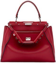 FENDI Red Studded Peekaboo Bag. #fendi #bags #shoulder bags #hand bags #suede #lining #