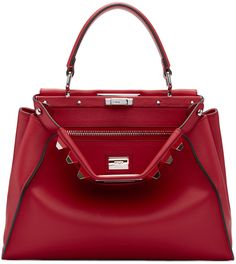 FENDI Red Studded Peekaboo Bag. #fendi #bags #shoulder bags #hand bags #suede #lining #