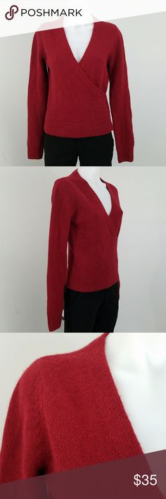 "🌼 🌼 Angora/Lambs Wool Faux Wrap Sweater Sz M EUC SUPER SOFT Angora and Lamb's wool maroon faux wrap sweater with a deep V-neck. Cute 4 button detail on the wrap.   50% Angora Rabbit hair, 50% lambs wool.   Measurements: 18"" across bust, 23"" long, 27"" long sleeve from shoulder seam. The Limited Sweaters V-Necks"
