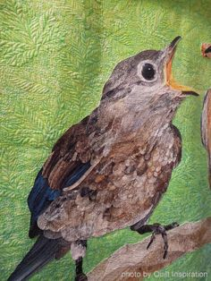 close up, Did You Wash Your Beak?  by David Taylor, Colorado, USA. Judge's Choice, Houston 2013 Quilt Festival