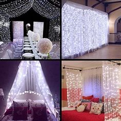 ZSTBT UL Safe 304 LED Connectable Curtain Lights Icicle Lights Fairy String Lights with 8 Modes for Wedding Party Family Patio Lawn Decoration Led Curtain Lights, Icicle Lights, Hanging Lights, String Lights, Light String, Wall Lights, Starry Lights, Light Led, Solar Lights