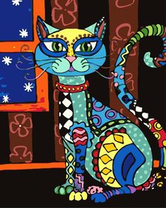 Cat  Paint By number,Cat Diy Painting Kit,Painting On Canvas,Wall Picture Frame Set,Diy Painting,Cat Diy Paint Kit