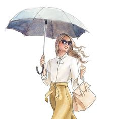 {detail of 2017 April calendar girl} This is why I love to draw. In the world of illustration this is what a rainy day looks like. You do not even want to know what reality looks like on this rainy Monday in New York. Remember the friends episode when Monica gets frizzy humidity hair on their Trip to Barbados? Yes. That is reality today
