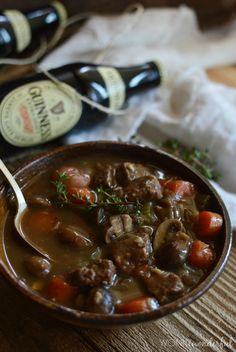 Guinness Beef Stew.  Not just a favourite on St Patrick's day.  We love this all year round! #soup #stew wonkywonderful.com