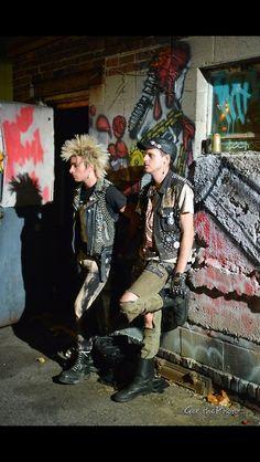 punkrock shadows. Young male punks.