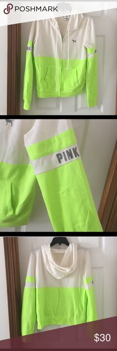"PINK lime green/white zip up hoodie Excellent condition!! Basically new. I never really wore it. From PINK :) ***Note, it didn't sell yet. Someone purchased it then cancelled, which is why on my page the other one says ""sold"" PINK Victoria's Secret Tops Sweatshirts & Hoodies"