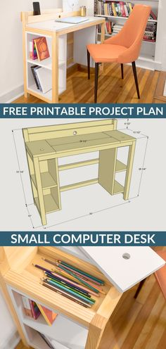 Ideas bedroom diy shelves small rooms for 2019 Diy Computer Desk, Small Computer, Diy Desk, Office Desk, Work Desk, Computer Build, Open Office, Small Space Bedroom, Small Spaces