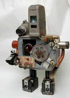 "One of a Kind Original..Junk - Droid #6 ""FRANK""  found and salvaged object Robot-Like Sculpture Entirely reclaimed materials."