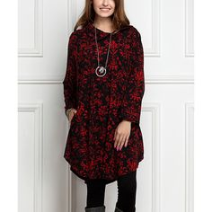 0406fae3bb95 R&B Dark Red Floral Shawl-Collar Button-Accent Tunic Dress ($23. Zulily  Plus SizeTall ...