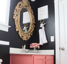 Baroque mirror and a dash of pink