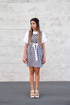 Chambray Pinafore Polka Dot Waist Belt Indie Fashion Chic Fashion Fall Fashion. Supporting RAW Initiative Chic Fall Fashion, Indie Fashion, Women's Summer Fashion, Chambray, Polka Dots, Short Sleeve Dresses, Happiness, Belt, Womens Fashion