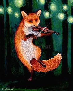 "Fiddle Fox Signed Print by toadbriar on Etsy, $22.00 This is a signed print from Kim Parkhurst. Available sized 8x10"" or 11x14""."