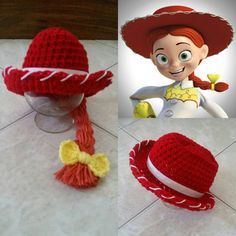 Crochet Disney's Toy Story 2 Jessie Cowgirl Hat by Potterfreakg