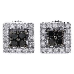 Pre-owned 10K White Gold with 0.25ct Black and White Diamond Stud Halo... (11.455 RUB) ❤ liked on Polyvore featuring jewelry, earrings, white gold earrings, pre owned jewelry, diamond stud earrings, white gold jewelry and white gold diamond jewelry