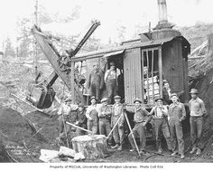 Osgood steam shovel and construction crew, Schafer Brothers Logging Company