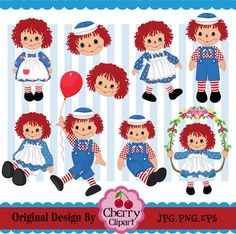 Raggedy Ann and Andy- Raggedy Annie  Rag Doll Digital Clipart Set -Personal and Commercial Use
