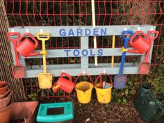 "Garden tool holder I made from pallet - Follow my ""School projects made"" …"