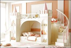 Girls Castle Bed With Slide