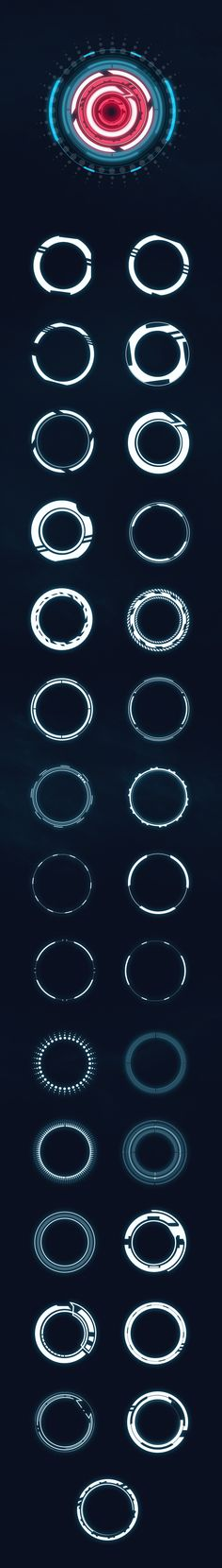 Hi-tech HUD circles - Custom Shapes - Shapes Photoshop