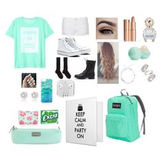 """""""light green or"""" by kkristenlove on Polyvore featuring Victoria's Secret, Topshop, Converse, Charlotte Tilbury, Eos, Marc Jacobs, Kate Spade, JanSport, Hadaki and Wrigley's"""