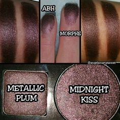 DUPES! ABH 'METALLIC PLUM' from the new SELF MADE palette and MORPHE MIDNIGHT KISS found in the JACLYN HILL palette and also sold individually.  I'm about 90% sure that METALLIC PLUM is only available in the SELF MADE palette and not for individual sale. If you don't have the JACLYN HILL palette, MIDNIGHT KISS is sold individually by MORPHE for $2. This is the third dupe that I've posted for the SELF MADE palette. I may go for broke and try to dupe the rest of it.  #angelamarytanner…