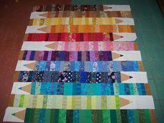 Coloring pencil quilt in progress - vorläufiges Layout | Flickr ...