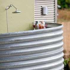 Another way to make an outdoor shower enclosure